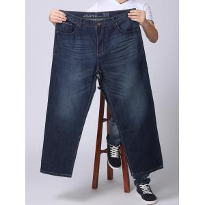 Zipper Fly Plus Size Straight Leg Jeans - DENIM BLUE 42