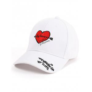 Letters Heart Embroidered Band Baseball Cap