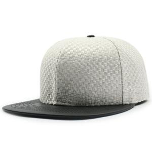 Flat Brim Spliced Tiny Plaid Baseball Cap - White - 42