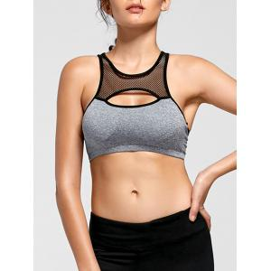 Fishnet Mesh Keyhole Padded Yoga Bra - Blue Gray - L