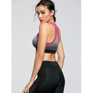 Stripe Ombre Yoga Padded  Bra - WATERMELON RED M