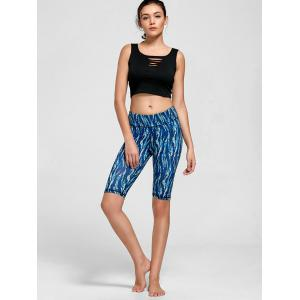 Keyhole Ripped Active Crop Top - BLACK S