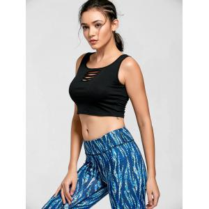 Keyhole Ripped Active Crop Top - BLACK L