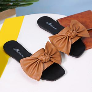 Bowknot Flat Heel Faux Leather Slippers - BROWN 39