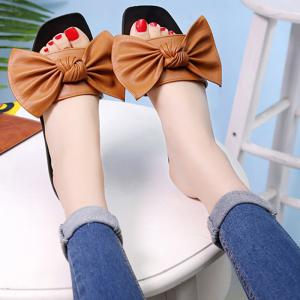 Bowknot Flat Heel Faux Leather Slippers - BROWN 38