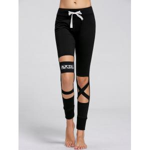 Sports Drawstring Cutout Ripped Joggers - Black - L