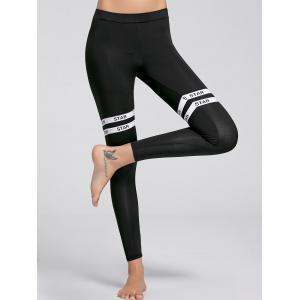 Letter Graphic Fitness Leggings - Black - L