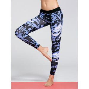 Pattern Funky Gym Tights - Blue - M