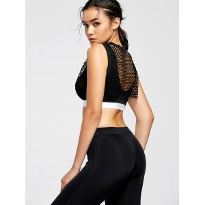 Fishnet Sheer Crop Top and Sports Bra - BLACK M