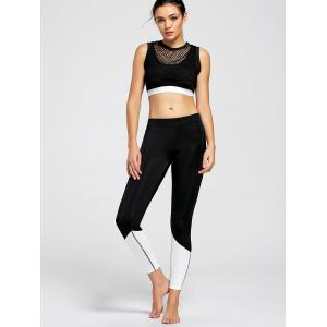 Fishnet Sheer Crop Top and Sports Bra - BLACK L