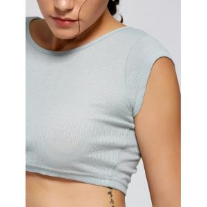 Active Ribbed Crop T-shirt - SMOKY GRAY M