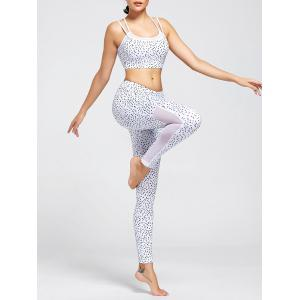 Unlined Printed Strappy Bra and Mesh Insert Workout Leggings - White - S