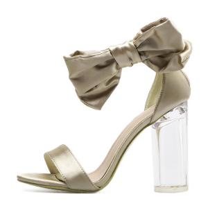 Bow Clear Chunky Heel Sandals -