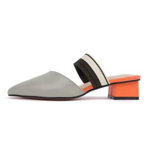 Block Heel Point Toe Mules Chaussures -
