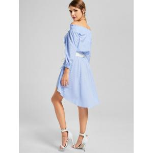 Striped High Low Off The Shoulder Dress - STRIPE XL