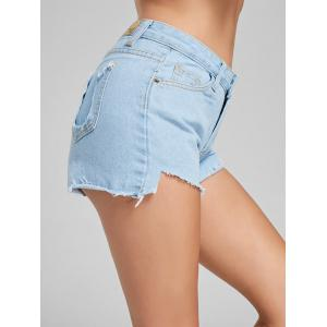 Frayed High Waisted Denim Shorts