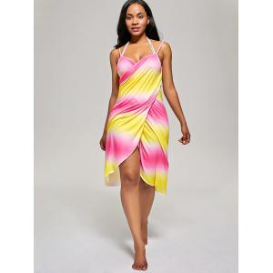 Ombre Cover Up Wrap Dress - YELLOW/RED ONE SIZE
