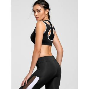 Two-layered Contrast Padded Sports Bra - BLACK S