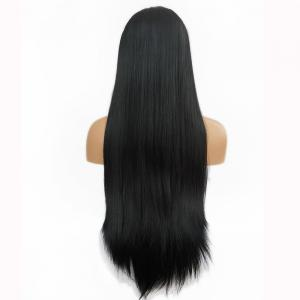 Free Part Long Straight Lace Front Synthetic Wig - BLACK