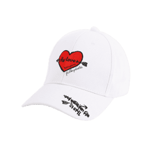 Letters Heart Embroidered Band Baseball Cap - WHITE