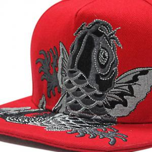 Fancy Carp Embroidered Flat Brim Baseball Hat - RED