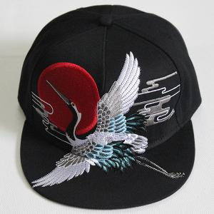 Red Crowned Crane Embroidered Retro Baseball Hat - BLACK