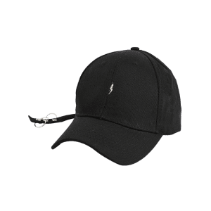 Circles Long Tail Lightning Pattern Baseball Cap - BLACK