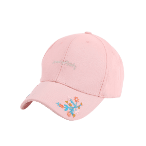 Letters Flowers Embroidered Baseball Cap - PINK