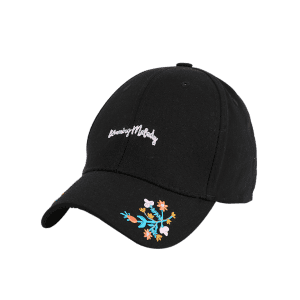 Letters Flowers Embroidered Baseball Cap - BLACK