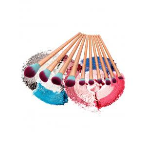 10Pcs Wave Handle Nylon Makeup Brushes Set - Or Rose