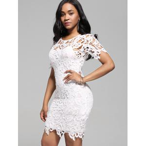 Cutwork Lace Pencil Dress with Cami Dress - WHITE 2XL