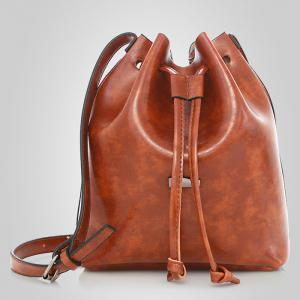 3 Pieces PU Leather Bucket Bag Set -