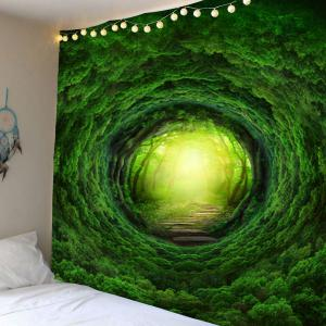 Home Decor Nature Tree Hole Wall Hanging Tapestry - Green - W79 Inch * L79 Inch