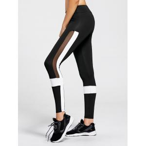 Contrast  Workout Leggings with Mesh Panel