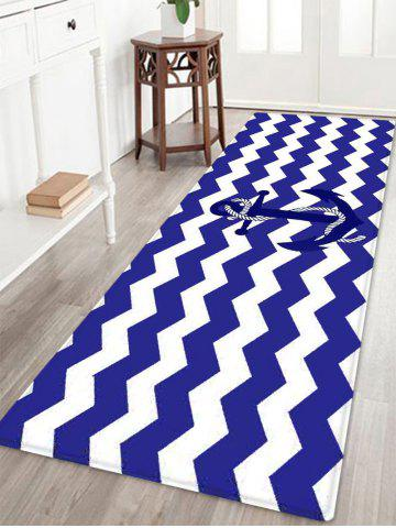 Nautical Anchor Zig-zag Pattern Anti-skid Water Absorption Area Rug - Blue - W24 Inch * L71 Inch