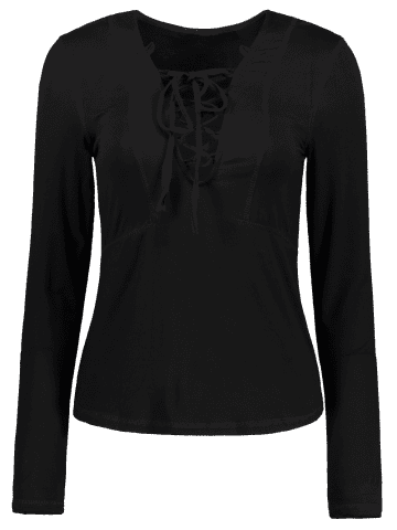 Outfits Stylish Lucky Lace Up Women's Top - S BLACK Mobile