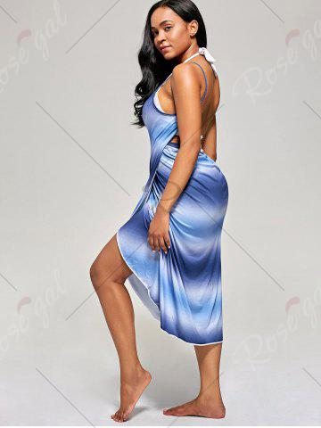 Fancy Ombre Wrap Cover Up Dress - ONE SIZE BLUE Mobile