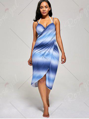Sale Ombre Wrap Cover Up Dress - ONE SIZE BLUE Mobile