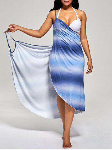 Fashion Ombre Wrap Cover Up Dress - ONE SIZE BLUE Mobile