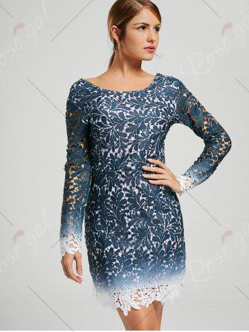Fashion Lace Open Back Ombre Party Formal Dress - L BLUE Mobile