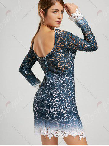 Sale Lace Open Back Ombre Party Formal Dress - L BLUE Mobile