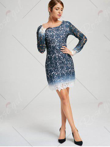 Chic Lace Open Back Ombre Party Formal Dress - L BLUE Mobile