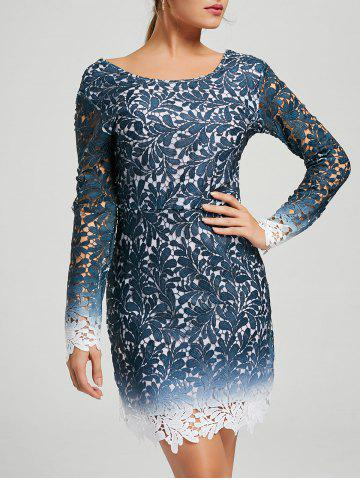 Store Lace Open Back Ombre Party Formal Dress - XL BLUE Mobile