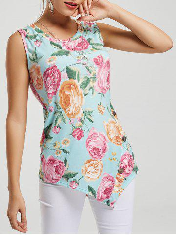 Affordable Asymmetric Floral Tunic Tank Top LIGHT BLUE S