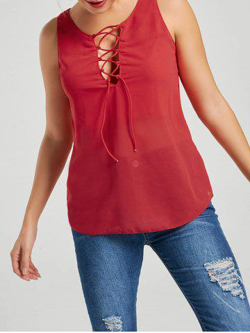 Best Lace-up Tank Top RED M