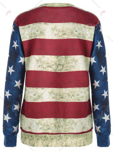 Outfit Distressed American Flag Sweatshirt - M COLORMIX Mobile