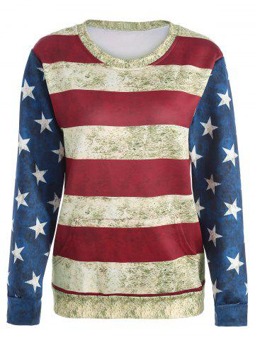 Shop Distressed American Flag Sweatshirt - M COLORMIX Mobile