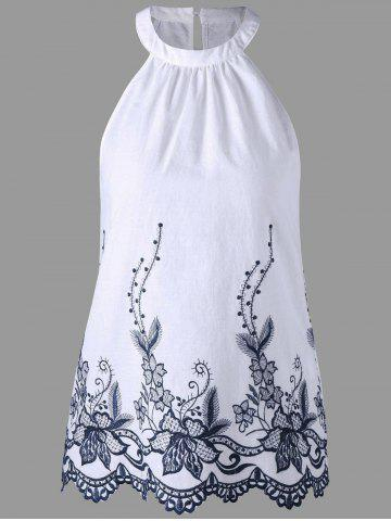 Online Sleeveless Embroidery Scalloped Edge Blouse