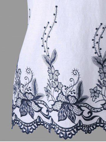 Chic Sleeveless Embroidery Scalloped Edge Blouse - 2XL WHITE Mobile