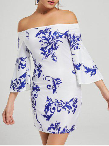 Printed Bodycon Off The Shoulder Dress - White - Xl